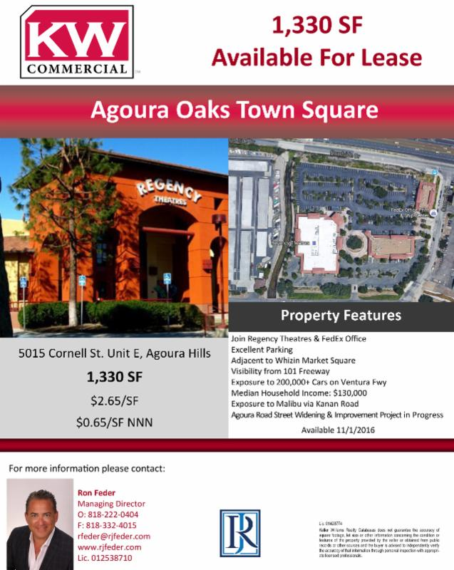 1,330 sqft of Retail Space for lease in Agoura Hills  Within