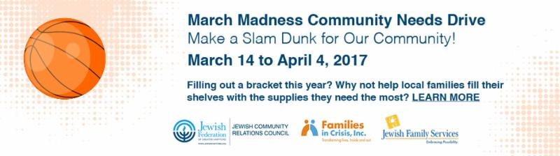 ad for March Madness Community Needs Drive