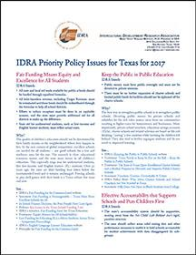 IDRA Priority Policy Issues for Texas for 2017