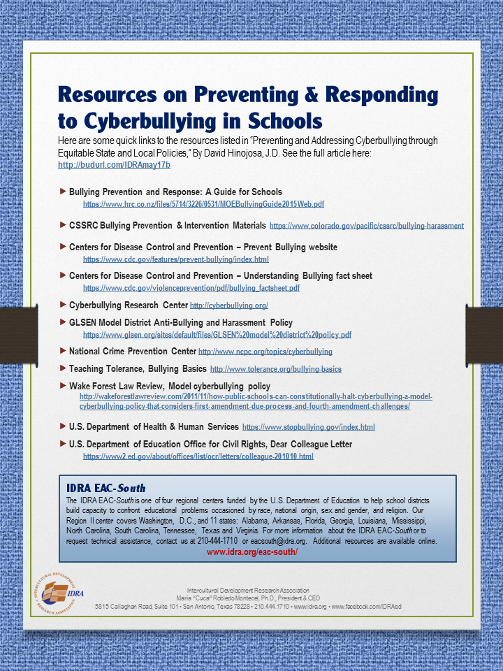 Resources on Preventing and Responding to Cyberbullying in Schools