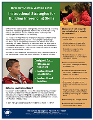 IDRA Inferencing professional development flier