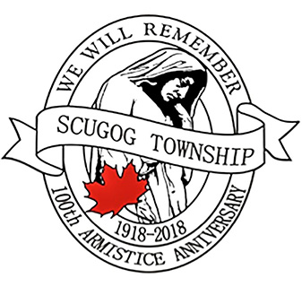Scugog Remembers logo. We will remember. Scugog Township. 1918-2018. 100th Armistice Anniversary.