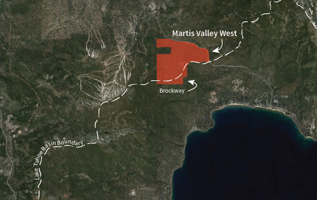 Map showing Martis Valley West and Brockway