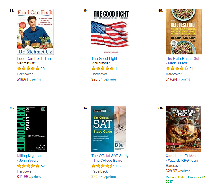 October 2017 midpoint trade books blog spotted in amazon top 100 books now 20 next to mark sisson of primal blueprints new book the keto reset diet 9781524762230 harmony malvernweather