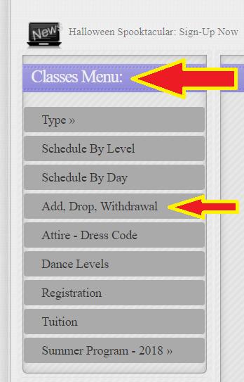 Add Drop Classes Side Menu