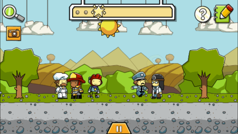 screen shot from scribblenauts. shows a cartoon backdrop of mountains and trees and in the foreground are a chef_ a fireman_ a police man_ and a doctor
