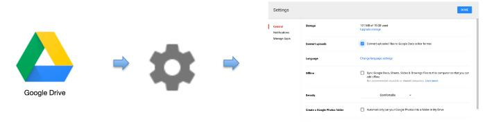 to picture representation of Open Google Drive  to Settings to Convert Uploads