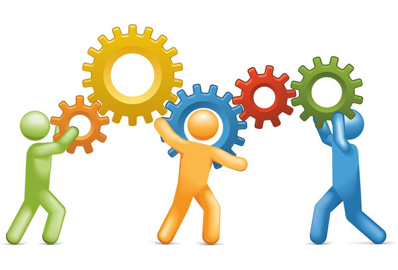 three clipart persons holding up gears that are interlocking with one another