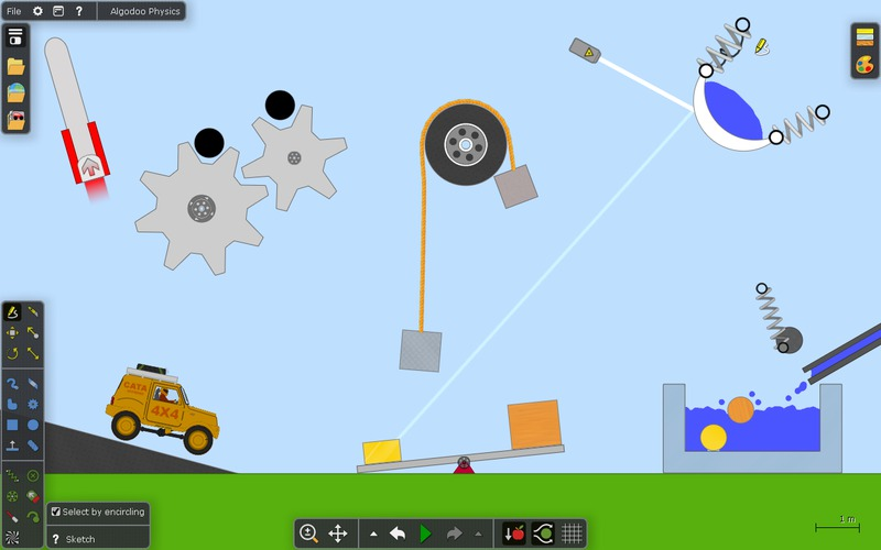 screen shot of user created jeep_ gears_ pulleys_ ramps_ and water. The jeep is rolling down the ramp.