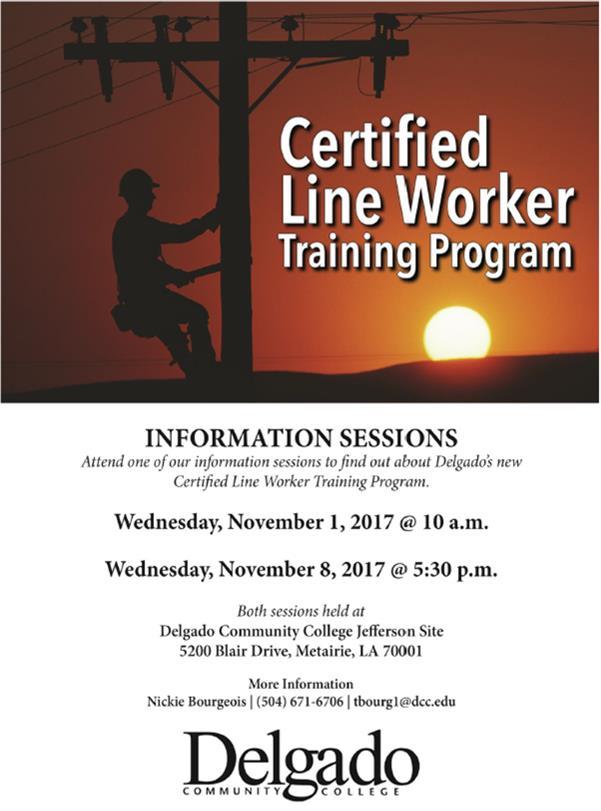 Delgado Certfied Line Worker Training Program Info Sessions