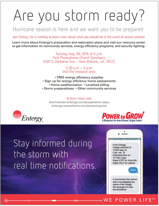 Entergy Prepares New Orleans Customers for Severe Storms