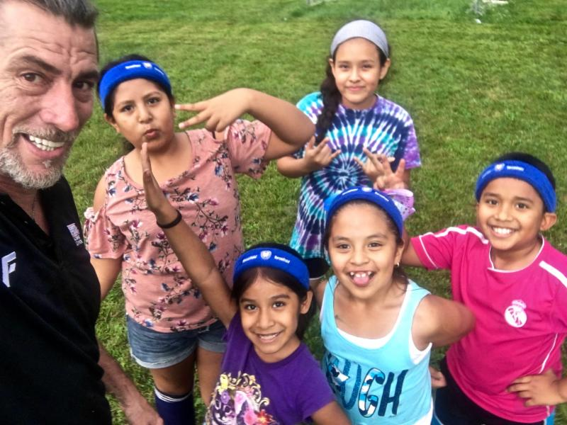The girls are loving soccer at Hartville Migrant Ministries Camp