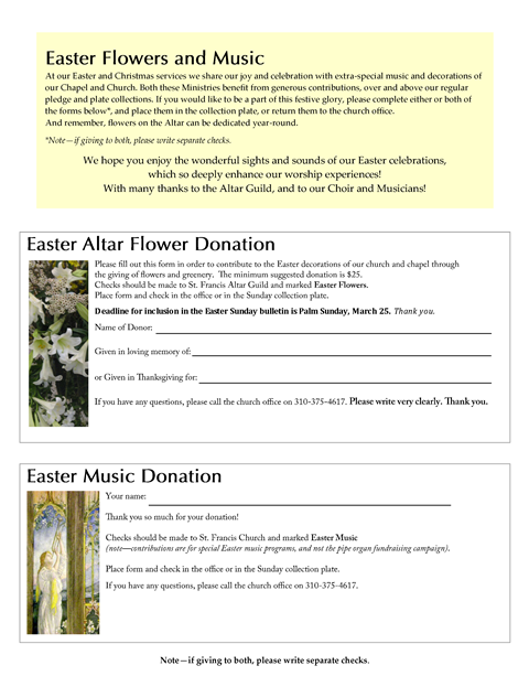 Altar flower and music donations