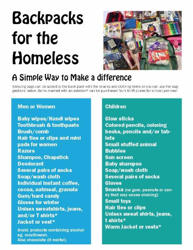 List of items for homeless backpack