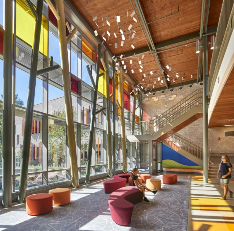 Interior of school with colored glass windows
