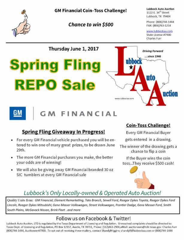 Gm Financial Phone >> Lubbock Auto Auction Gm Financial Sale June 1