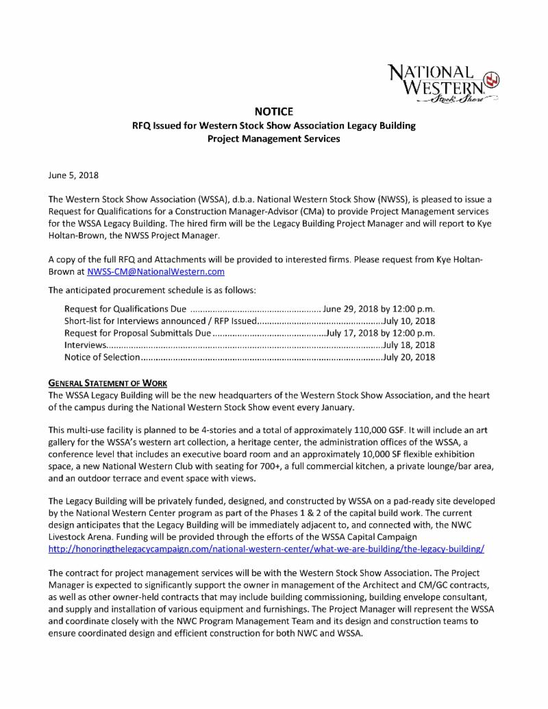 National Western RQF issued for Western Stock Show Associate Legacy Building - Project Management Services