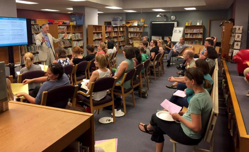 More than 50 people attended the first PTO membership meeting of the school year in the Franklin LMC on September 12, 2017.