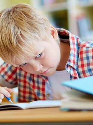 Blonde boy with plaid shirt looking at book