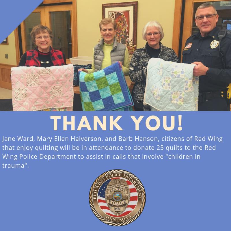 Image of Police Chief standing next to ladies who donated quilts to RWPD. Text under image describes donation.