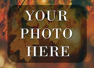 Your Photo Here in white letters against a background of autumn leaves