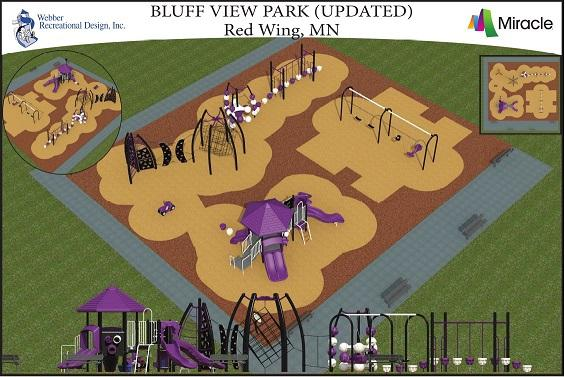 Image of digital rendering of new Bluff View Park playground design