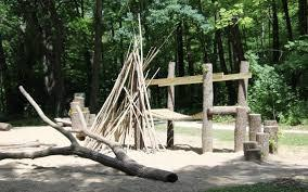 Image of rough wooden play area surrounded by trees