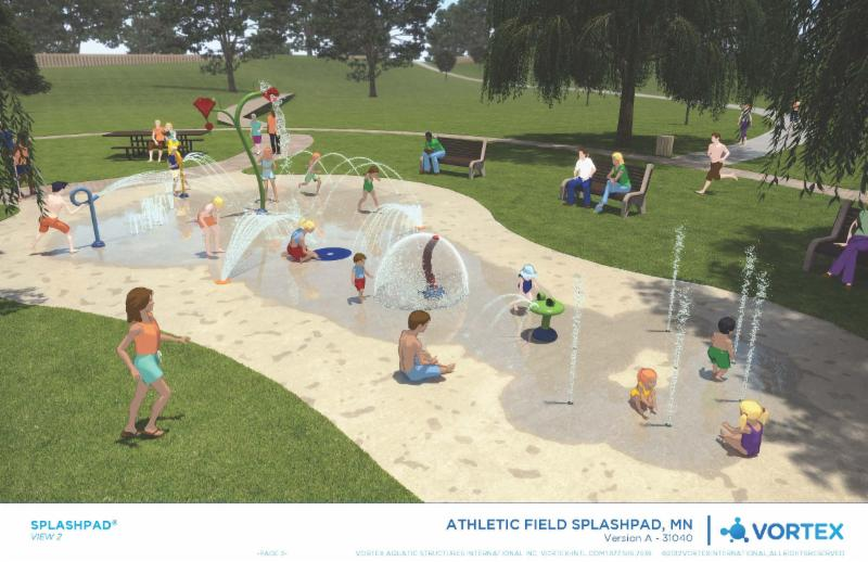3D rendered image of the Red Wing splash pad