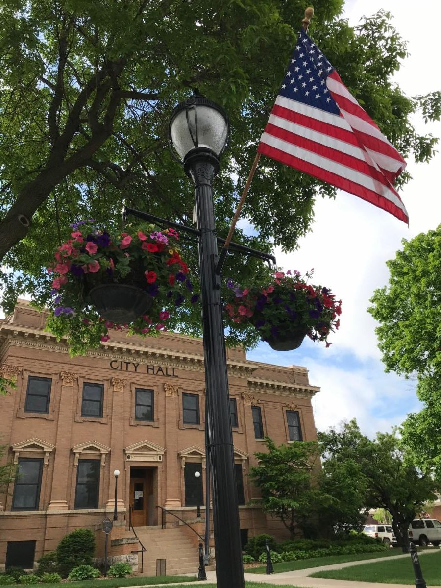 Photo of a lamp post with flower basket and flag with City Hall in background