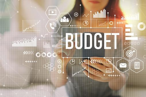 Image of a woman on a cell phone with the word cloud budget over the image