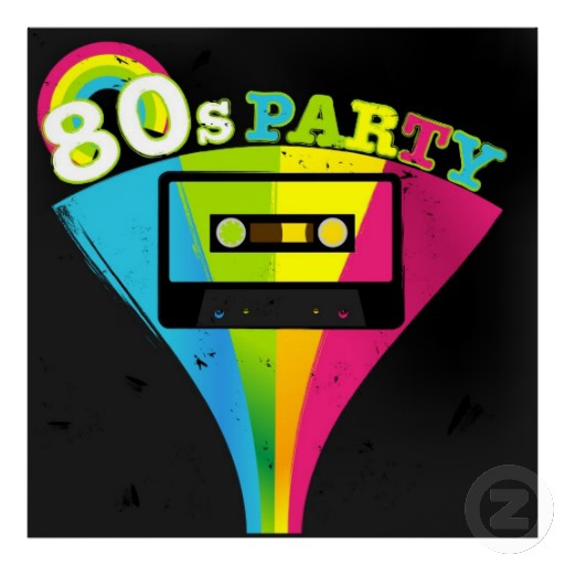 graphic of a rainbow audio tape and the words 80s party