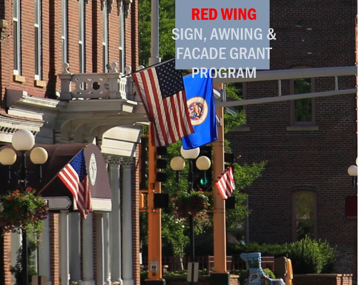 Image of downtown building with words Red Wing Sign Awning and Facade Grant Program