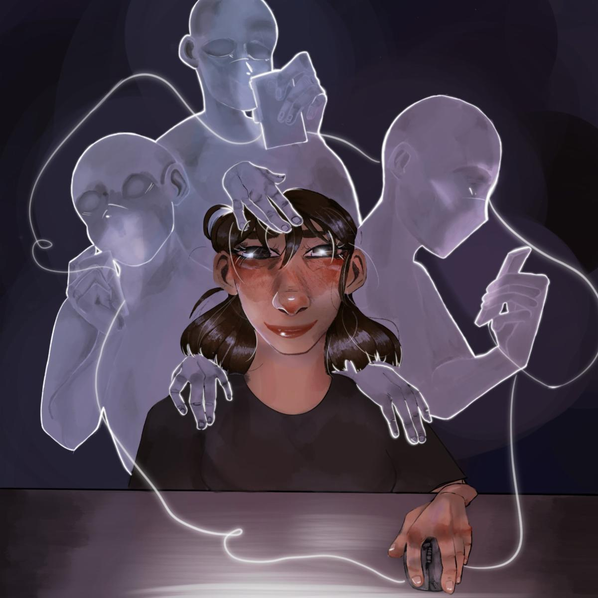 Connection by Isabella Goerman. Graphic art image of a youth experiencing a digital connection with people around the world