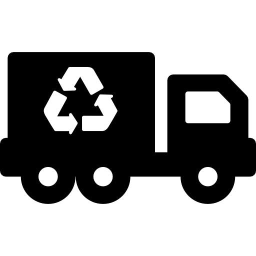 Black outline of a truck with a recycling symbol on its side