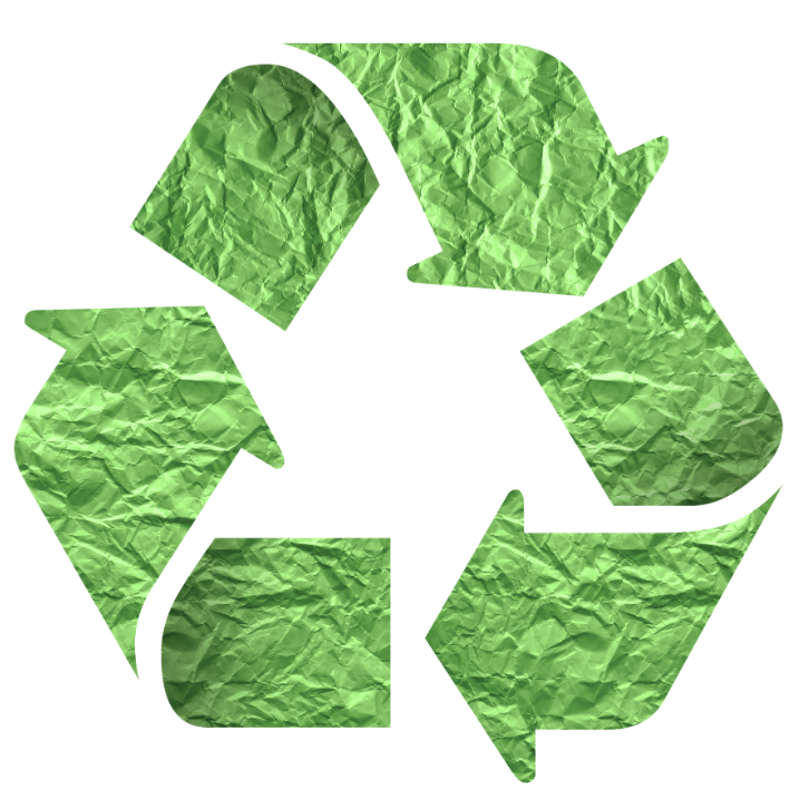 Image of recycling logo in crumpled green paper
