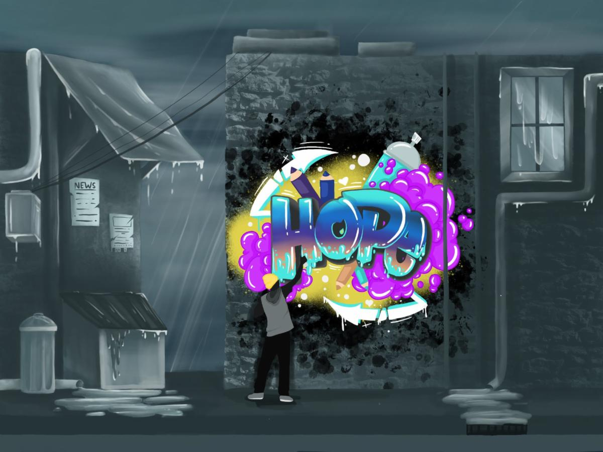 Hope in the Rain art work by Hannah Beaulieu.  Graphic art image of an artist spray painting the word hope on a city wall