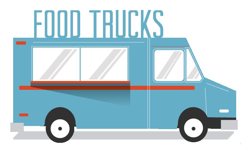 Cartoon image of a blue food truck