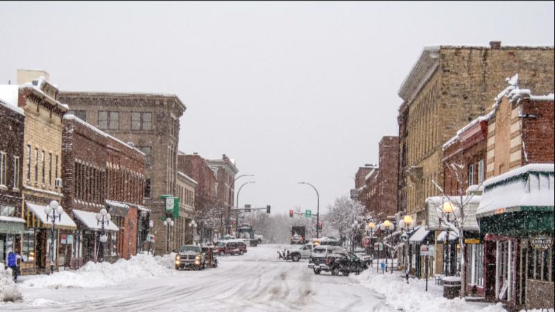 Image of downtown Red Wing in the winter with snow on the streets