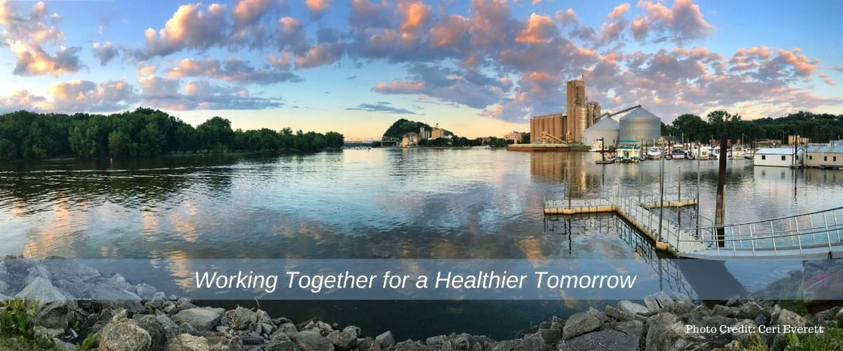 Panoramic photo of the Mississippi river and city of Red Wing at sunset