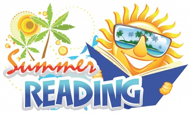 Image of a sun wearing shades and holding an open book next to the words Summer Reading