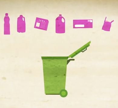 Image of a green trash bin below pink bottles