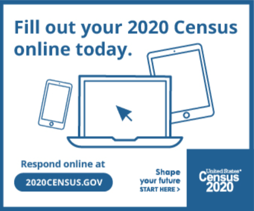 Graphic with computers encouraging 2020 Census completion online