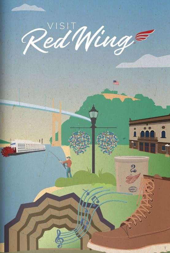 Cover of the VCB visitor guide featuring stylized images from Red Wing