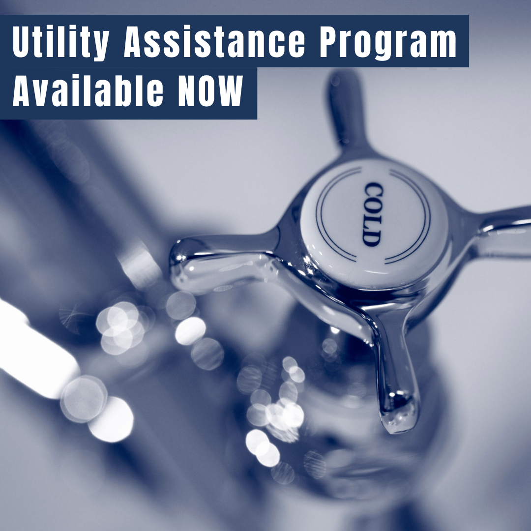 Image of a cold water faucet with Utility Assistance Program Available NOW in white letters above