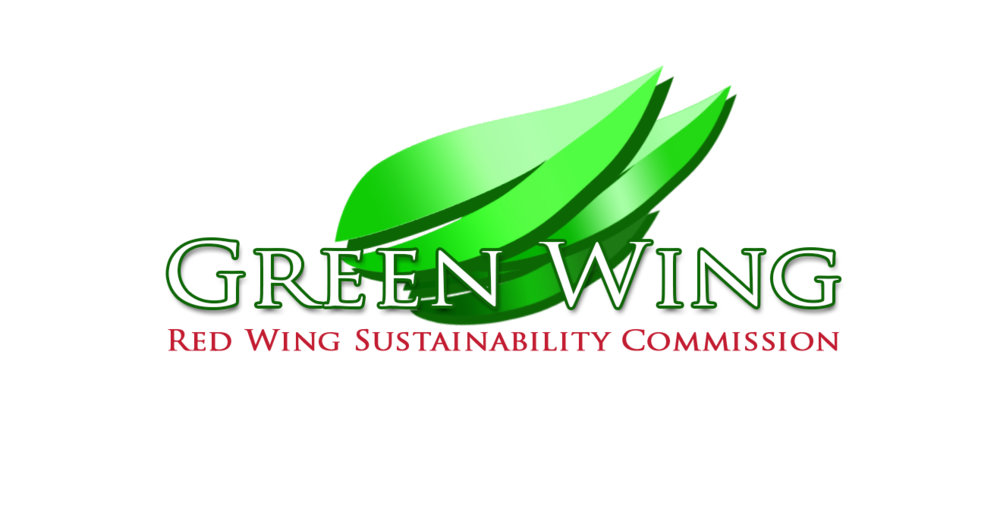 Logo of the Sustainability Commission with a green wing made of leaves behind the words Green Wing and Red Wing Sustainability Commission in red font just below