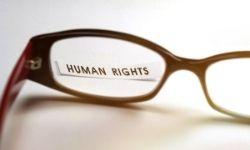 Words Human Rights in focus in a pair of glasses