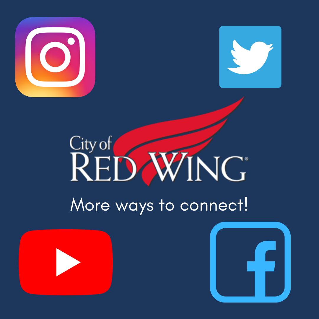 City logo surrounded by social media logos