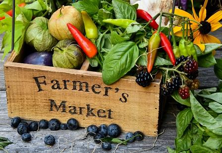 Image of flowers fruits and veggies overflowing a wooden box labeled Farmers Market