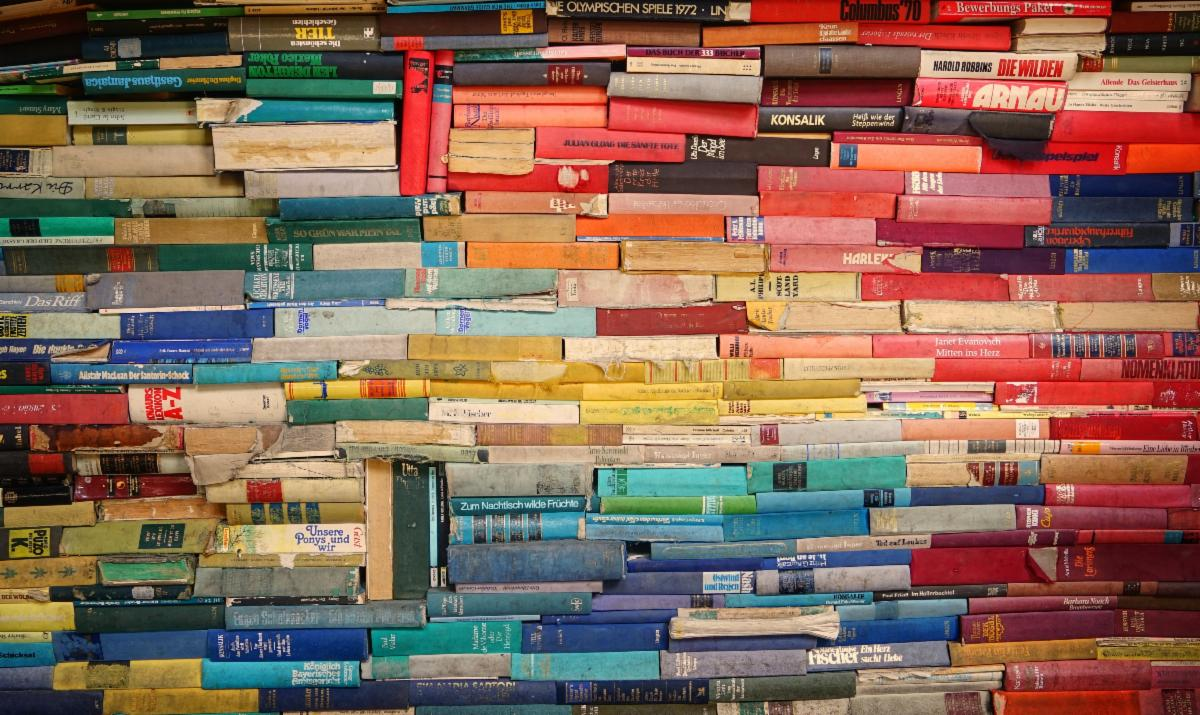 Image of tightly stacked colorful books