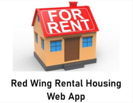 Image of a cartoon house with a red roof with For Rent on it against a white background